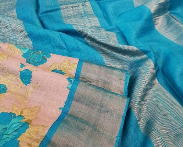 grey with blue border zari tussar saree2