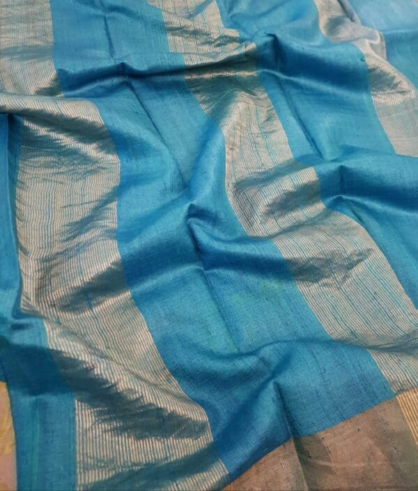 grey with blue border zari tussar saree3
