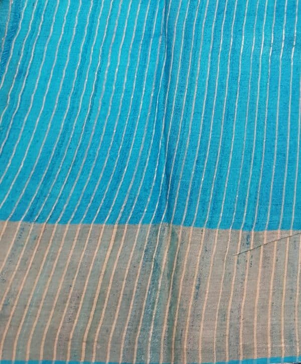 grey with blue border zari tussar saree4