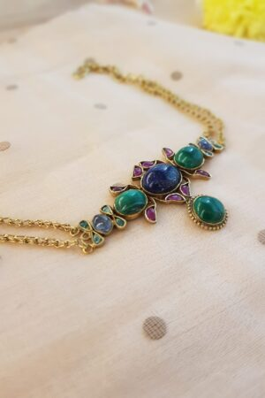 long chain with blue green pendant1