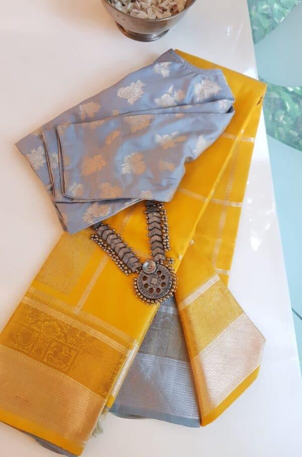 mustard and grey silk saree
