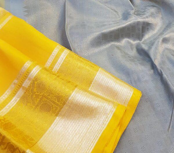 mustard and grey silk saree2
