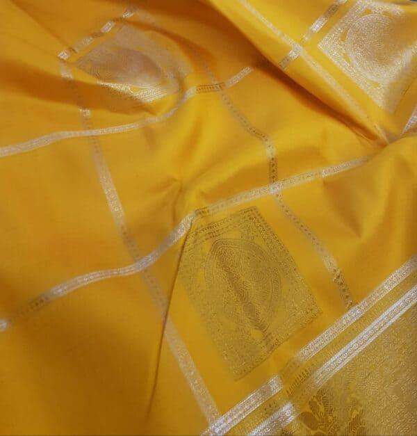 mustard and grey silk saree3