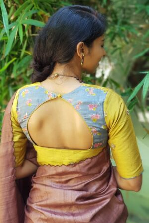 mustard embroidered tussar blouse1