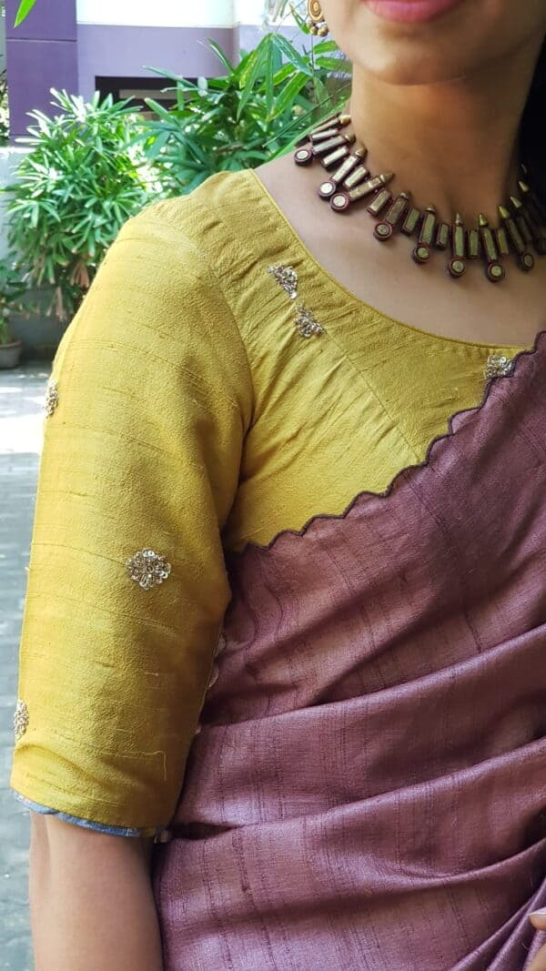 mustard embroidered tussar blouse2