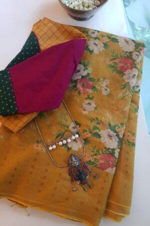 mustard floral printed sari