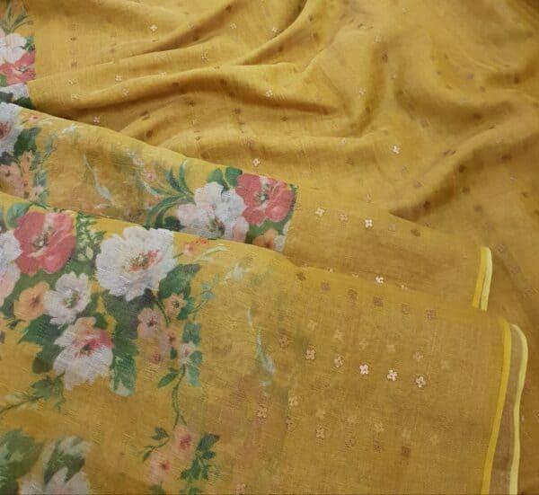 mustard floral printed sari1