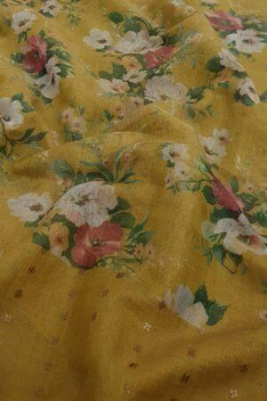 mustard floral printed sari2