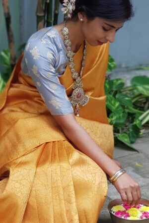 mustard kanchi silk all over