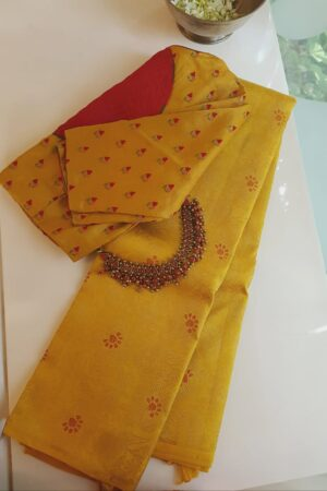 mustard silk saree with brocade