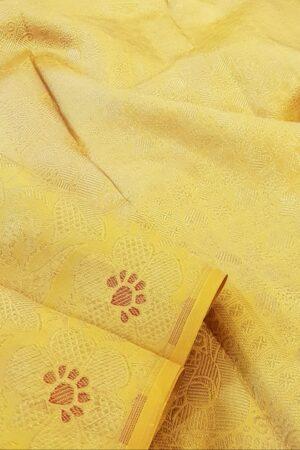 mustard silk saree with brocade2
