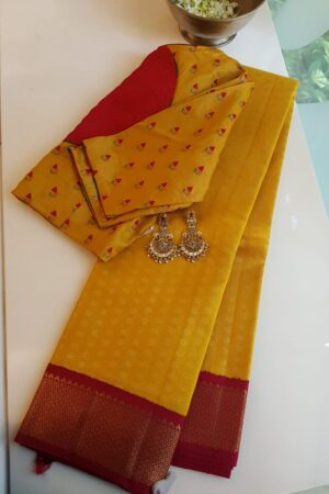 mustard with red arakku korvai border silk saree