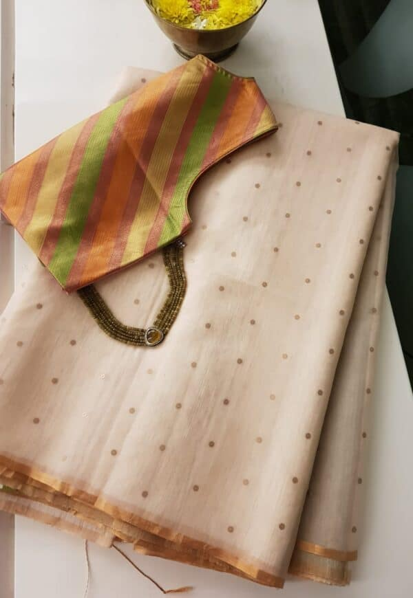 off white sequins saree