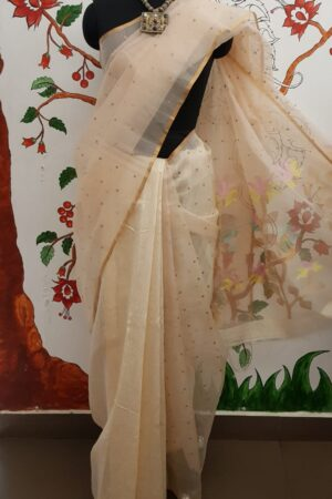 off white sequins saree1