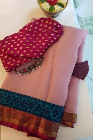 pale pink organza saree with silk kutch work border
