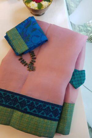 pale pink organza saree with silk kutch work border1