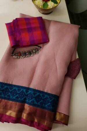 pale rose organza saree with kutch work silk border5