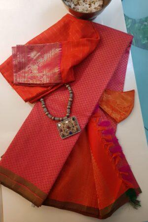 pink brocade kanchi silk saree