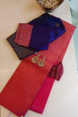pink rising border saree