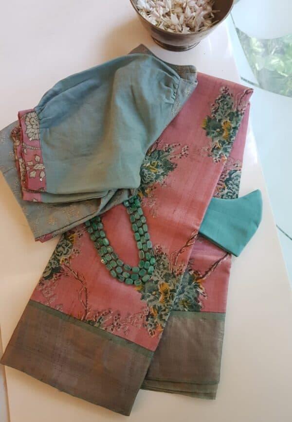 pink with green zari border tussar saree