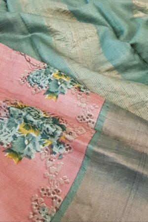 pink with green zari border tussar saree1