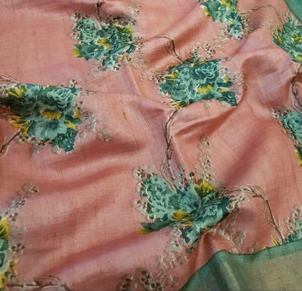 pink with green zari border tussar saree2