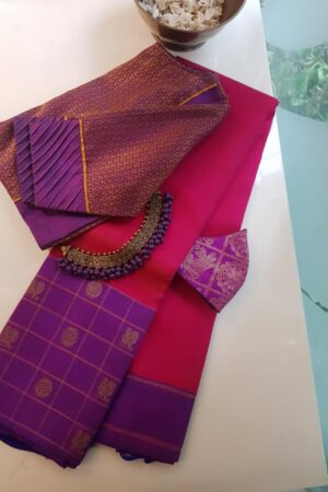 pink with violet border silk saree
