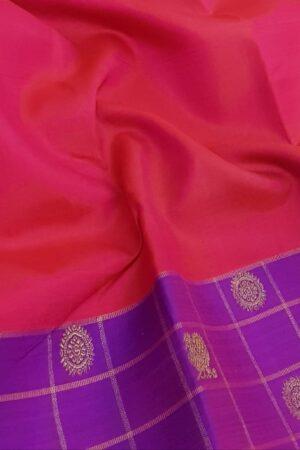 pink with violet border silk saree3