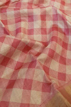 pink zari border tussar saree1