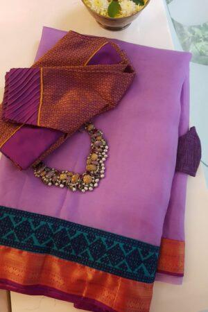 purple organza saree with silk kutch work border