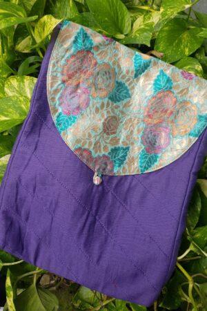 purple saree pouch