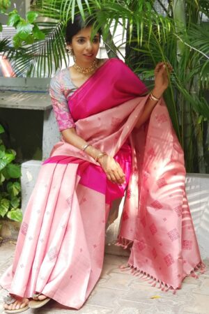 rani pink and pale rose half half silk saree1