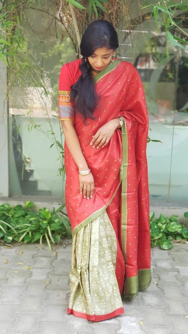 red and green half half tussar saree with kutch work