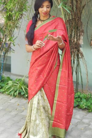 red and green half half tussar saree with kutch work1