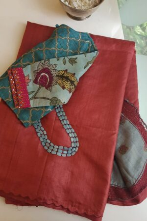 red and grey tussar saree