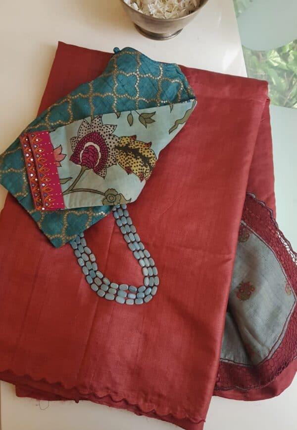 red and grey tussar saree