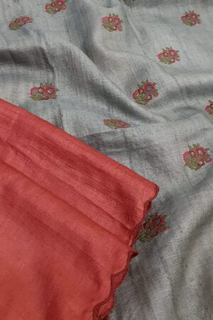 red and grey tussar saree1
