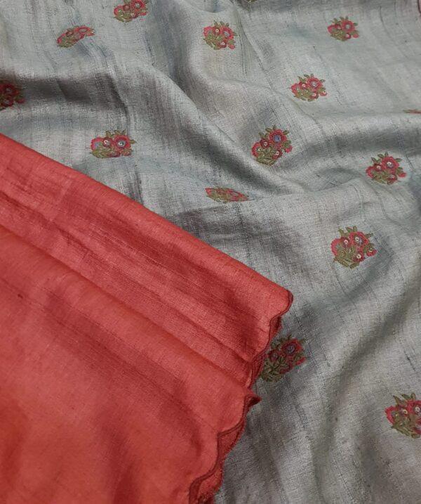 red and grey tussar saree1