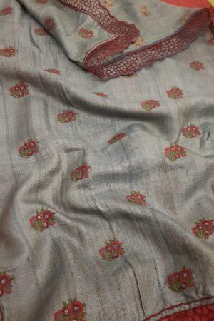 red and grey tussar saree2
