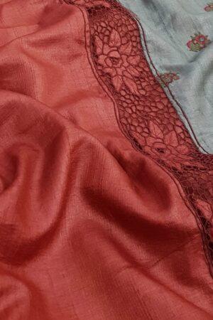 red and grey tussar saree3