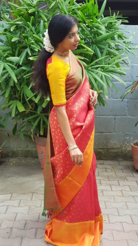 red kanchi silk with ganga jamuna border