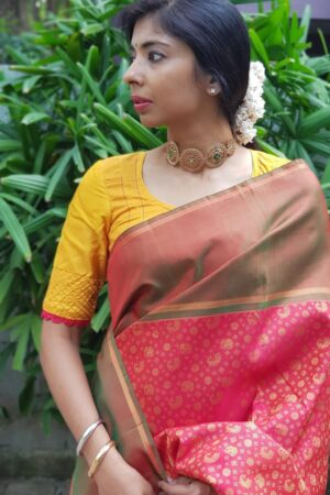 red kanchi silk with ganga jamuna border1