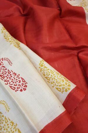 red paisley tussar saree1