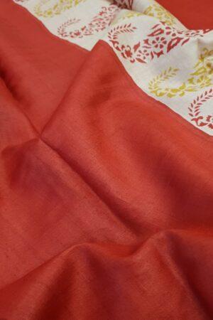 red paisley tussar saree2