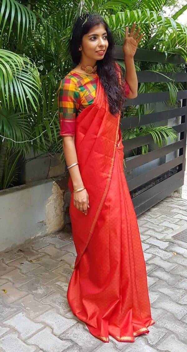 red payadi saree