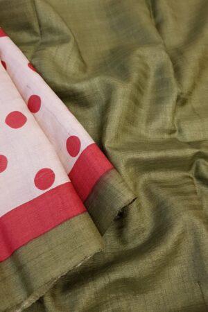 red polka dots saree1