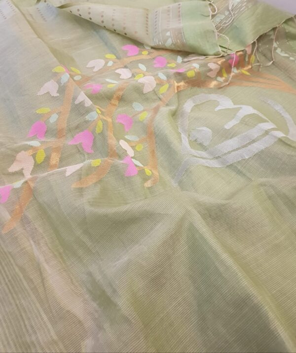 russian green organza saree with sequins woven border1