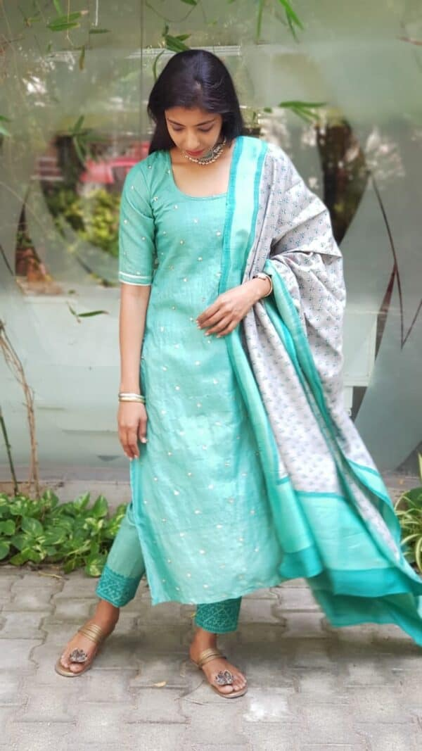 saphire green with kutch embroidery bottom