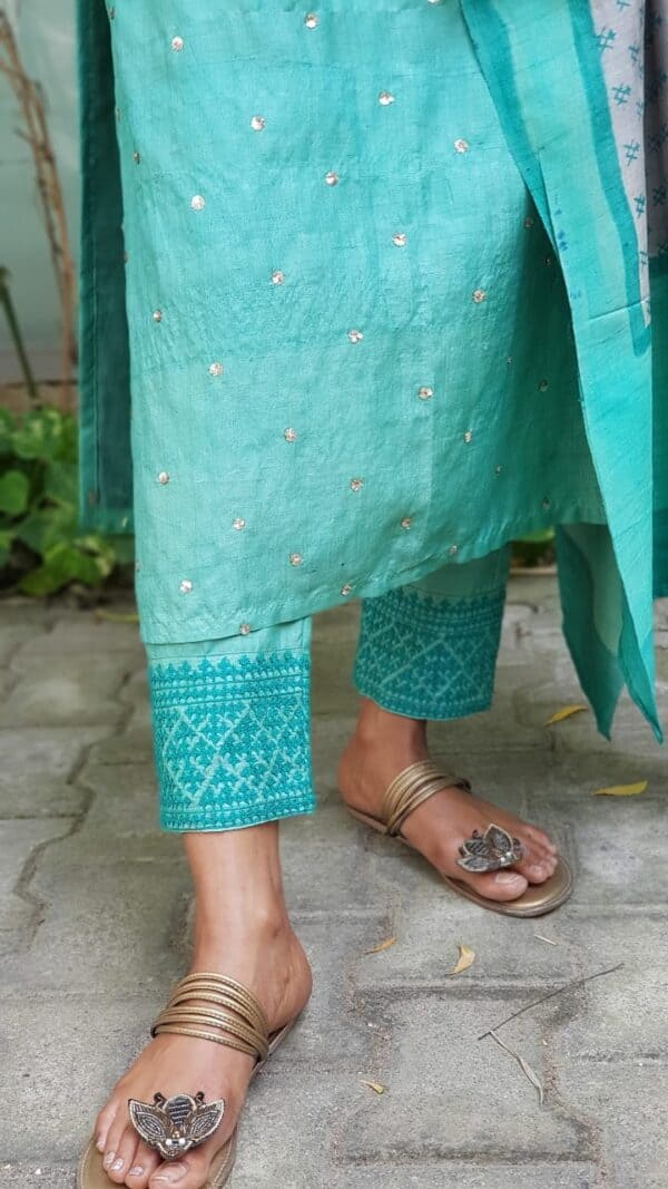 saphire green with kutch embroidery bottom1