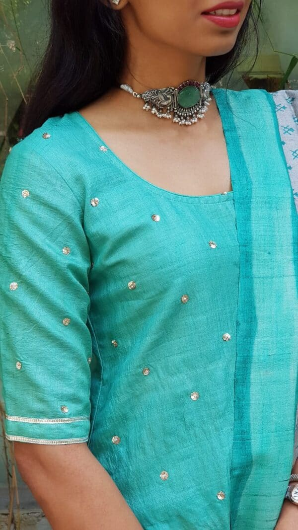 saphire green with kutch embroidery bottom2